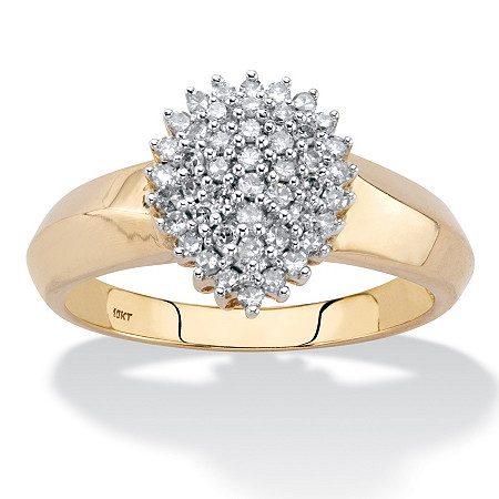 Round Diamond Pear-Shaped Cluster Engagement Anniversary Ring 1/3 TCW in Solid 10k Yellow Gold at PalmBeach Jewelry
