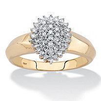 Round Diamond Pear-Shaped Cluster Engagement Anniversary Ring 1/3 TCW in Solid 10k Yellow Gold