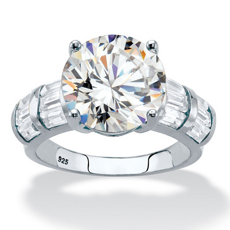 Round Cubic Zirconia and Baguette Accents Engagement Ring 7.28 TCW in Platinum over Sterling Silver at PalmBeach Jewelry