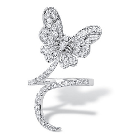Pear-Cut and Round Cubic Zirconia Butterfly Wraparound Ring 1.07 TCW Platinum-Plated at PalmBeach Jewelry