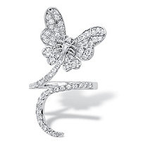 Pear-Cut and Round Cubic Zirconia Butterfly Wraparound Ring 1.07 TCW Platinum-Plated