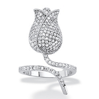 Round Pave Cubic Zirconia Flower Wraparound Ring 1.12 TCW Platinum-Plated ONLY $26.99
