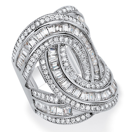 Baguette and Round Cubic Zirconia Loop-Over Ring 5.10 TCW Platinum-Plated (29mm) at PalmBeach Jewelry