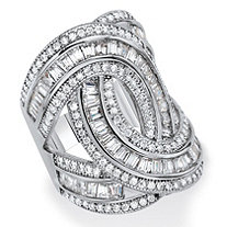 Baguette and Round Cubic Zirconia Loop-Over Ring 5.10 TCW Platinum-Plated (29mm)