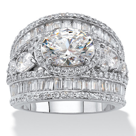 Oval Cubic Zirconia with Pear-Cut and Baguette Accents Engagement Anniversary Ring 6.70 TCW Platinum-Plated at PalmBeach Jewelry