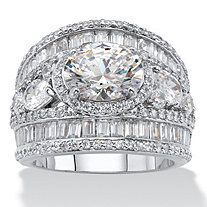 Oval Cubic Zirconia with Pear-Cut and Baguette Accents Engagement Anniversary Ring 6.70 TCW Platinum-Plated