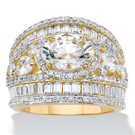 Oval Cubic Zirconia with Pear-Cut and Baguette Accents Engagement Ring 6.70 TCW Yellow Gold-Plated at PalmBeach Jewelry