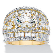 Oval Cubic Zirconia with Pear-Cut and Baguette Accents Engagement Ring 6.70 TCW Yellow Gold-Plated