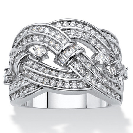 Round and Baguette Cubic Zirconia Crossover Highway Ring 1.67 TCW Platinum-Plated at PalmBeach Jewelry