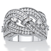 Round And Baguette Cubic Zirconia Crossover Highway Ring