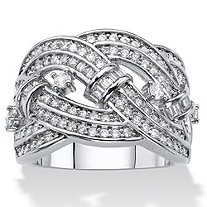 SETA JEWELRY Round and Baguette Cubic Zirconia Crossover Highway Ring 1.67 TCW Platinum-Plated
