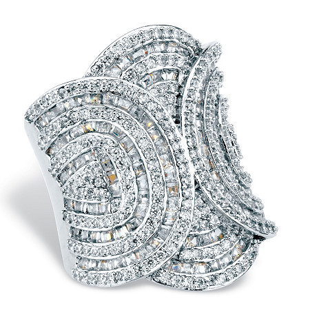 Baguette and Round Cubic Zirconia Art Deco Style Cocktail Ring 6.02 TCW Platinum-Plated (31mm) at PalmBeach Jewelry