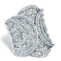Baguette and Round Cubic Zirconia Art Deco Style Cocktail Ring 6.02 TCW Platinum-Plated (31mm)