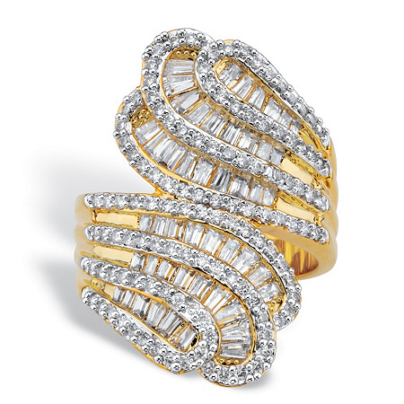 Baguette-Cut and Round Cubic Zirconia Tapered Bypass Ring 2.90 TCW 14k Yellow Gold-Plated at PalmBeach Jewelry