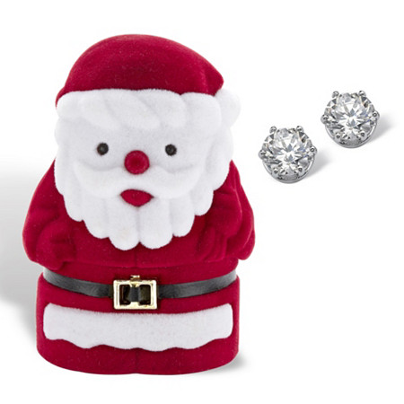 Round Cubic Zirconia Stud Earrings 1.96 TCW in Silvertone with Free Santa Gift Box at PalmBeach Jewelry