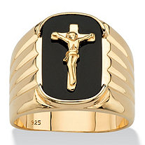 Men's Cushion-Cut Genuine Onyx Crucifix Cross Ring in 14k Yellow Gold over Sterling Silver