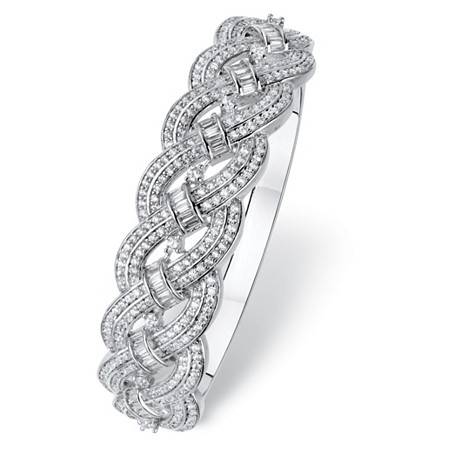 Round and Baguette Cubic Zirconia Braided Bracelet 4.63 TCW Platinum-Plated 6.75
