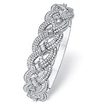 Round and Baguette Cubic Zirconia Braided Bracelet 4.63 TCW Platinum-Plated 6.75""