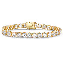 Round Cubic Zirconia Tennis Bracelet 28.42 TCW 14k Yellow Gold-Plated 7 1/2""