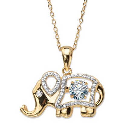 Round CZ in Motion Cubic Zirconia Elephant Pendant Necklace .94 TCW 14k Gold-Plated 18