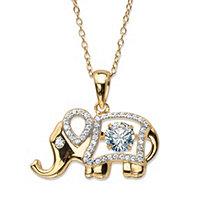 SETA JEWELRY Round CZ in Motion Cubic Zirconia Elephant Pendant Necklace .94 TCW 14k Gold-Plated 18