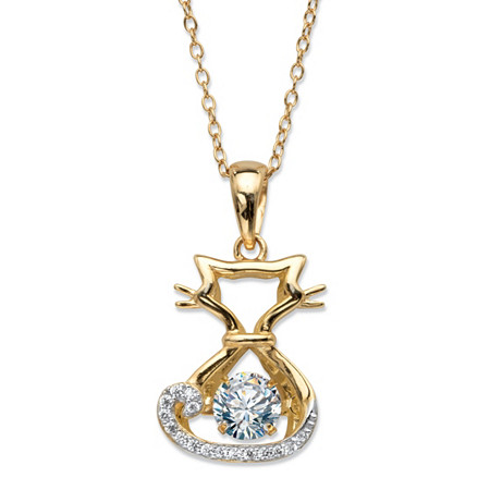 Round CZ in Motion Cubic Zirconia Cat Charm Pendant Necklace .78 TCW 14k Yellow Gold-Plated 18