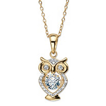"Round CZ in Motion Cubic Zirconia Owl Charm Pendant Necklace .84 TCW 14k Yellow Gold-Plated 18""-20"""