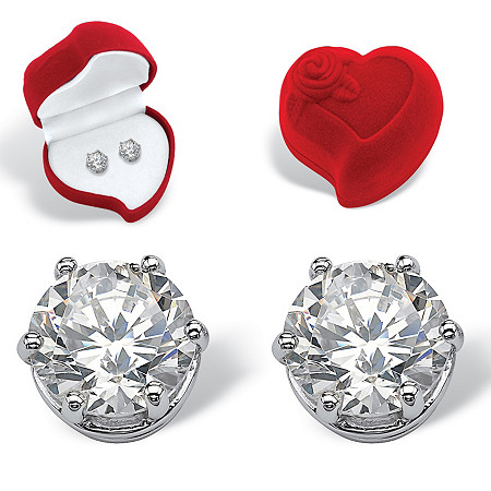 Round Cubic Zirconia Stud Earrings and Red Heart Gift Box 4 TCW in Platinum over Sterling Silver at PalmBeach Jewelry