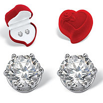 Round Cubic Zirconia Stud Earrings and Red Heart Gift Box 4 TCW in Platinum over Sterling Silver