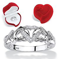 Diamond Accent Multi-Heart Promise Ring And Red Heart Gift Box In Platinum Over Sterling Silver ONLY $32.99