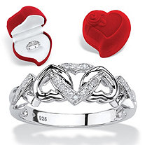 SETA JEWELRY Diamond Accent Multi-Heart Promise Ring and Red Heart Gift Box in Platinum over Sterling Silver