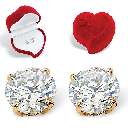 Round Cubic Zirconia Stud Earrings and Red Heart Gift Box 1.80 TCW in Solid 10k Yellow Gold at PalmBeach Jewelry