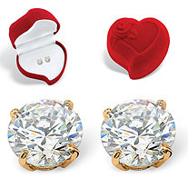 Round Cubic Zirconia Stud Earrings and Red Heart Gift Box 1.80 TCW in Solid 10k Yellow Gold