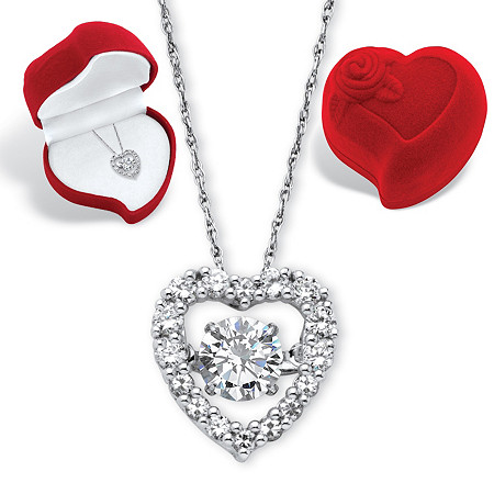 Round CZ in Motion Cubic Zirconia Heart Pendant Necklace and Red Heart Gift Box 1.46 TCW in Platinum over Sterling Silver 18