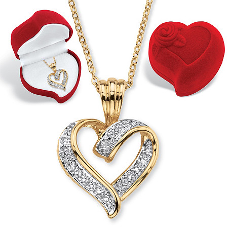 Diamond Accent Ribbon Loop Heart Pendant Necklace and Heart Gift Box in 18k Gold-Plated 18