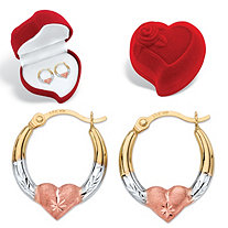 SETA JEWELRY Diamond-Cut Heart Hoop Earrings and Red Heart Gift Box in Tri-Tone Yellow, White and Rose 14k Gold (1/2
