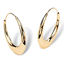 Puffed Hoop Earrings in 18k Yellow Gold over Sterling Silver 1 7/8""