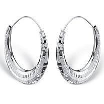 Hammered Puffed Hoop Earrings in Sterling Silver 1 7/8