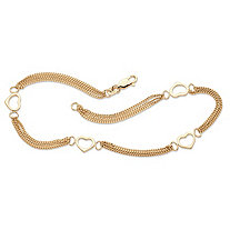 Open Heart Station Triple-Strand Ankle Bracelet in 14k Yellow Gold over Sterling Silver 10""
