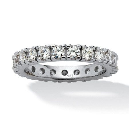 2 TCW Round Cubic Zirconia Eternity Band in Sterling Silver at PalmBeach Jewelry