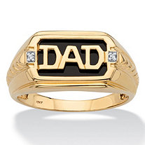 "Men's Emerald-Cut Genuine Onyx and Diamond Accent ""Dad"" Ring in Solid 10k Yellow Gold"