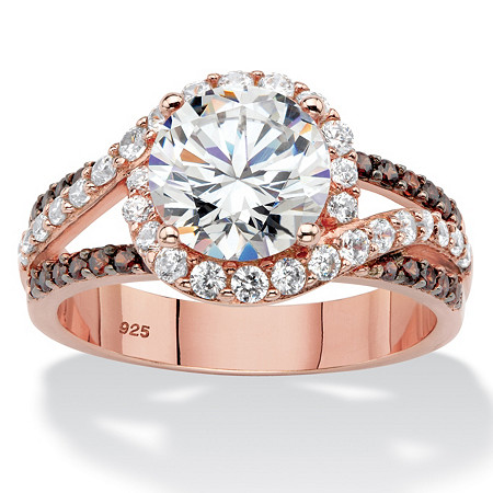 Round Cubic Zirconia Triple Band Engagement Anniversary Ring 2.91 TCW in Rose Gold over Sterling Silver at PalmBeach Jewelry