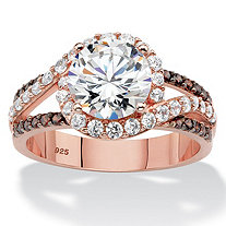 Round Cubic Zirconia Triple Band Engagement Anniversary Ring 2.91 TCW in Rose Gold over Sterling Silver