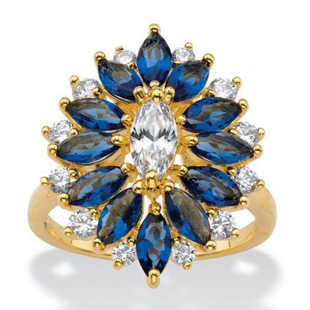 Marquise-Cut Cubic Zirconia and Simulated Blue Sapphire Floral Cluster Ring 5.31 TCW 14k Yellow Gold-Plated at PalmBeach Jewelry