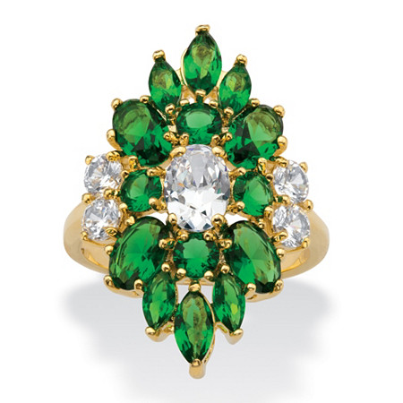 Oval and Marquise-Cut Cubic Zirconia and Simulated Green Emerald Floral Cluster Ring 5.58 TCW 14k Gold-Plated at PalmBeach Jewelry