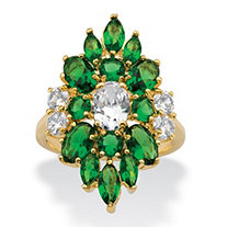 Oval and Marquise-Cut Cubic Zirconia and Simulated Green Emerald Floral Cluster Ring 5.58 TCW 14k Gold-Plated