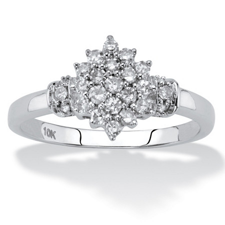 Round Diamond Cluster Ring 1/3 TCW in Solid 10k White Gold at Direct Charge presents PalmBeach