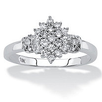 Round Diamond Cluster Ring 1/3 TCW in Solid 10k White Gold
