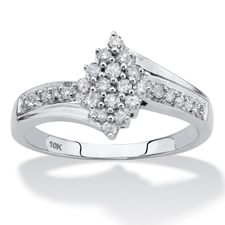 Round Diamond Cluster Bypass Ring 1/3 TCW in Solid 10k White Gold at PalmBeach Jewelry