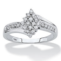 Round Diamond Cluster Bypass Ring 1/3 TCW in Solid 10k White Gold